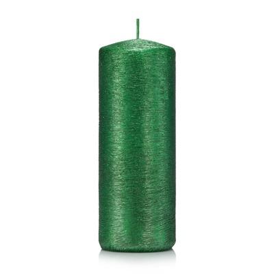 Świeca kokon walec 15/6 cm kolor zielony