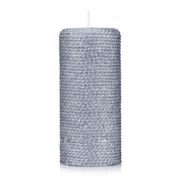 świeca walec sznurek lakier srebrny