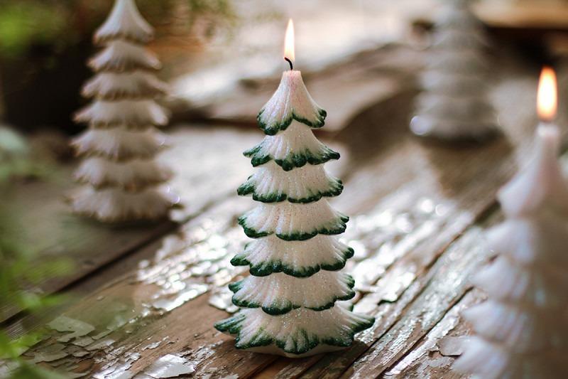 świece świąteczne świeca choinka 20 cm kolor zielony