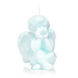 Świeca anioł 12 cm kolor niebieski