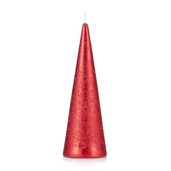 Świeca stożek 21 cm kolor czerwony