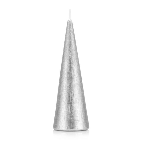 Świeca stożek 21 cm kolor srebrny