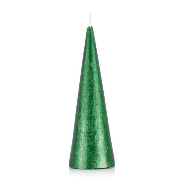 Świeca stożek 21 cm kolor zielony